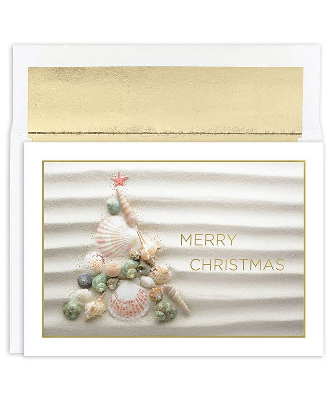Masterpiece Studios Masterpiece Cards Shell Christmas Tree Holiday Boxed Cards, 18 Cards and 18 Foil Lined Envelopes