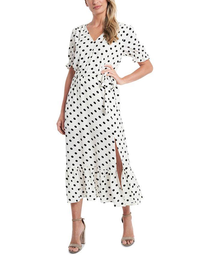 CeCe - Polka-Dot Tie-Waist Dress
