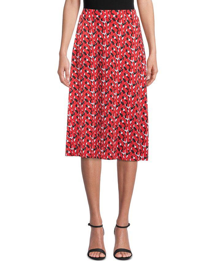 Kasper - Abstract-Print Midi Skirt