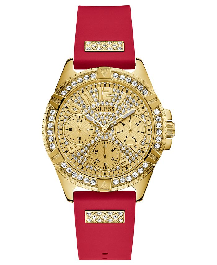 GUESS - Women's Red Silicone Strap Watch 40mm