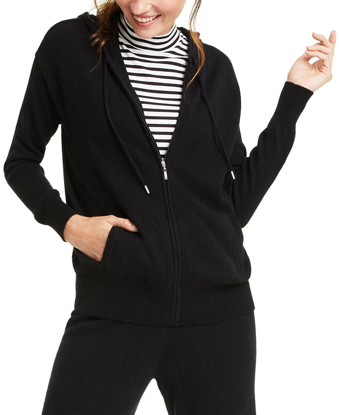 Charter Club - Cashmere Zip-Front Hoodie