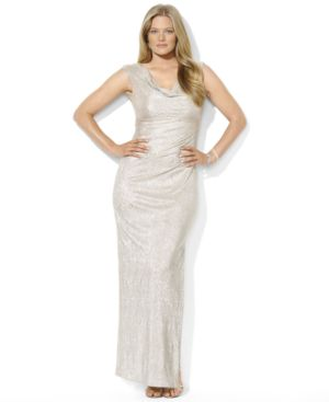 Lauren Ralph Lauren Plus Size Cap-Sleeve Metallic Drape-Neck Gown
