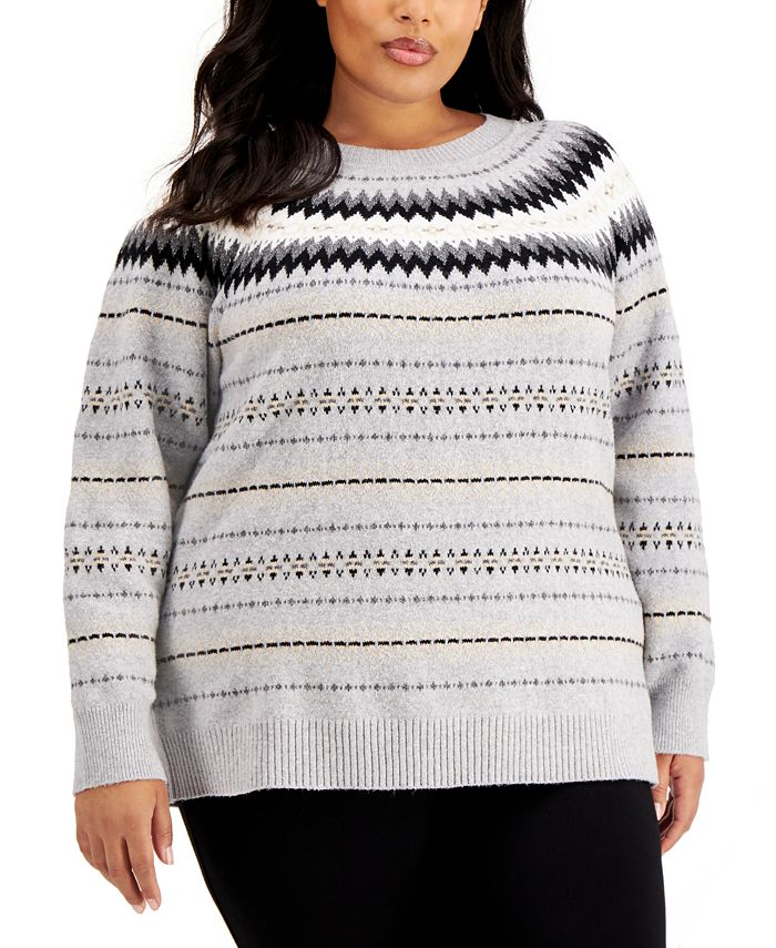Calvin Klein - Plus Size Crewneck Fair Isle Sweater