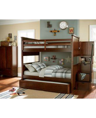 Huntsworth Twin Over Twin Kids Cherry Bunk Bed Furniture