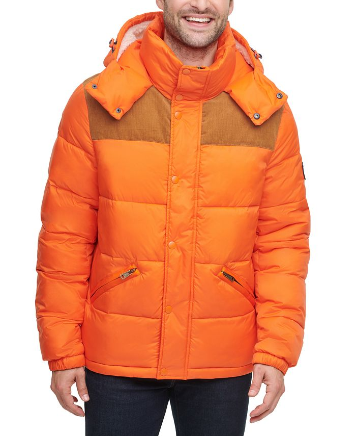 Tommy Hilfiger - Men's Mixed Media Nylon and Corduroy Quilted Puffer Jacket