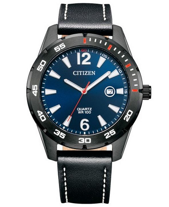 Citizen Men's Black Leather Strap Watch 32mm
