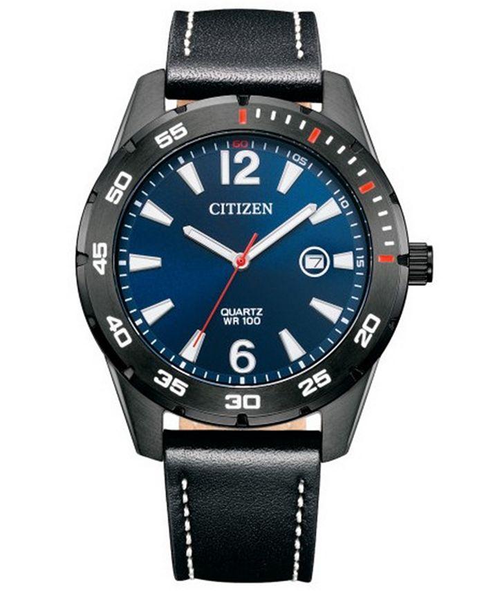 Citizen - Men's Black Leather Strap Watch 32mm