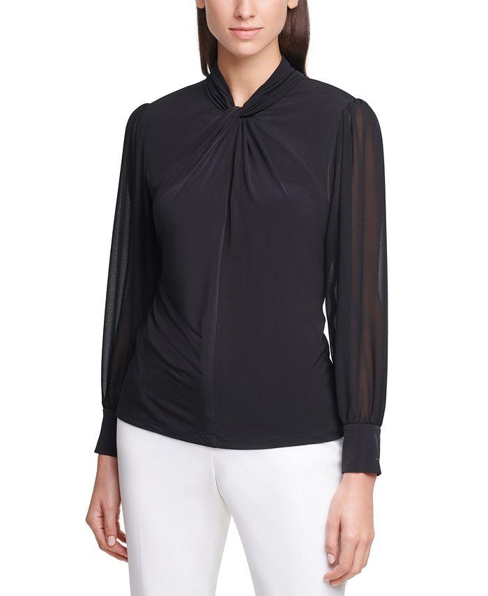 Calvin Klein - Sheer-Sleeve Twist-Neck Top