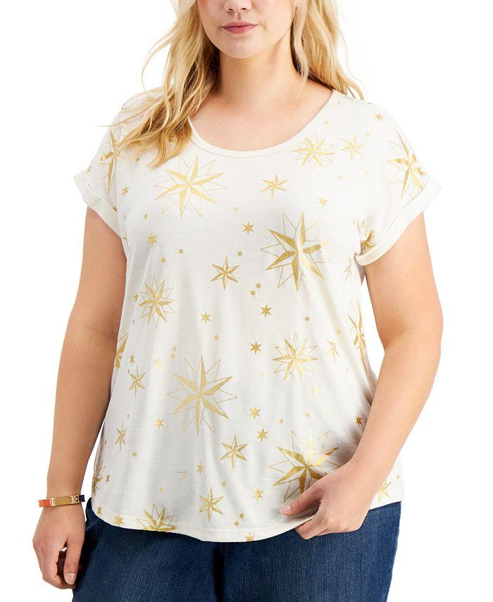 Style & Co - Plus Size Glitter-Print T-Shirt