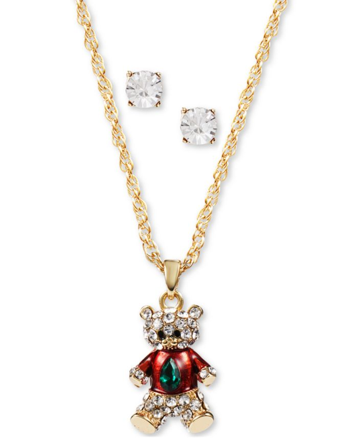 Charter Club Gold-Tone Crystal Teddy Bear Pendant Necklace & Stud Earrings Set, Created for Macy's & Reviews - Fashion Jewelry - Jewelry & Watches - Macy's