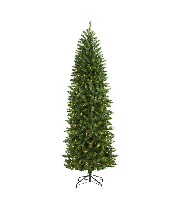 Nearly Natural Slim Mountain Pine Artificial Christmas Tree with 300 Clear LED Lights