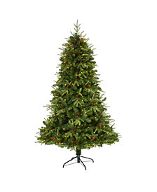 """Nearly Natural Wellington Spruce """"Natural Look"""" Artificial Christmas Tree with 400 Clear LED Lights and Pine Cones"""