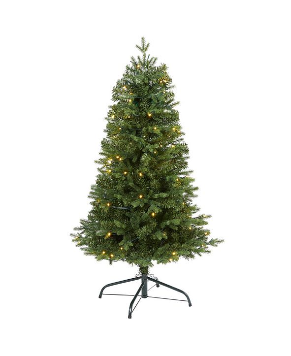 Nearly Natural Vermont Fir Artificial Christmas Tree with 100 Clear LED Lights