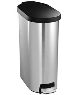 simplehuman Brushed Stainless Steel & Plastic Lid 45 Liter Slim Step Trash Can