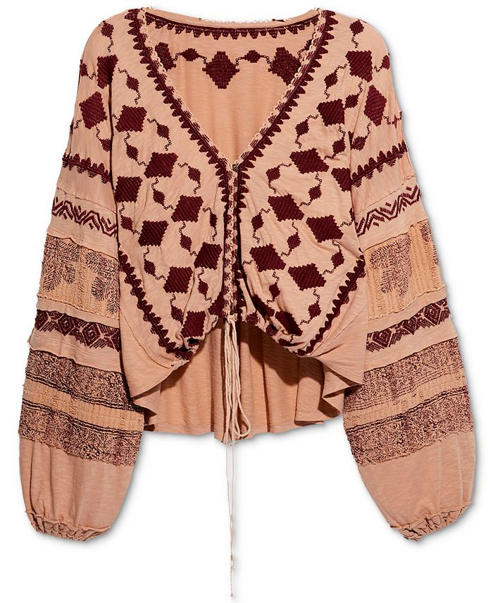 Free People - Home Town Embroidered High-Low Top