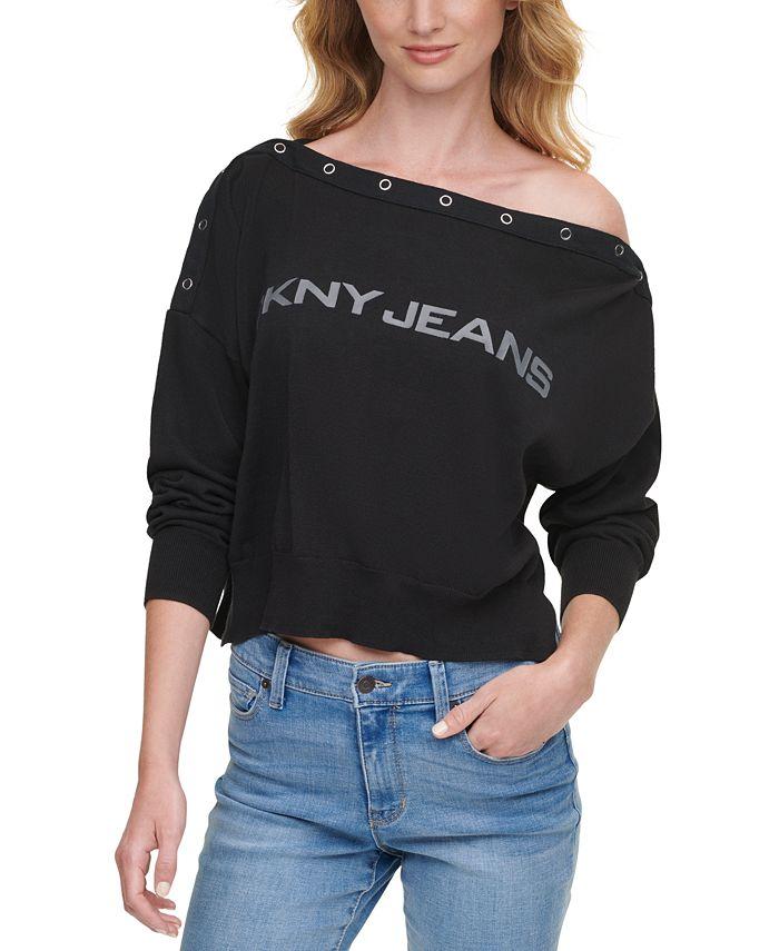 DKNY Jeans - Cotton Logo Boatneck Sweater