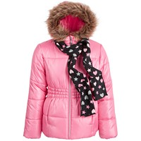 Deals on S Rothschild & CO Big Girls Puffer Coat and Scarf