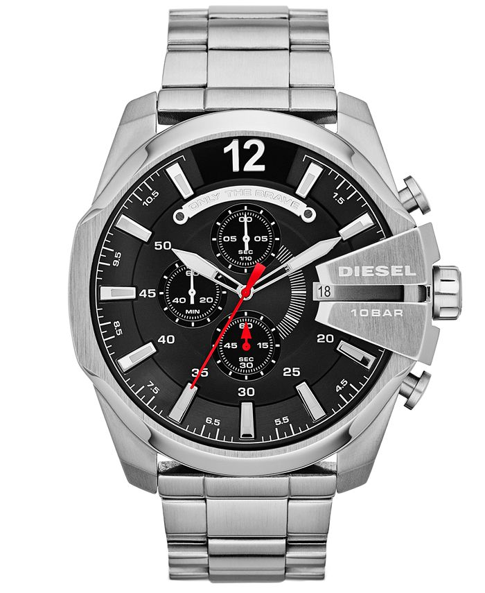 Diesel - Watch, Men's Chronograph Mega Chief Stainless Steel Bracelet 59x51mm DZ4308