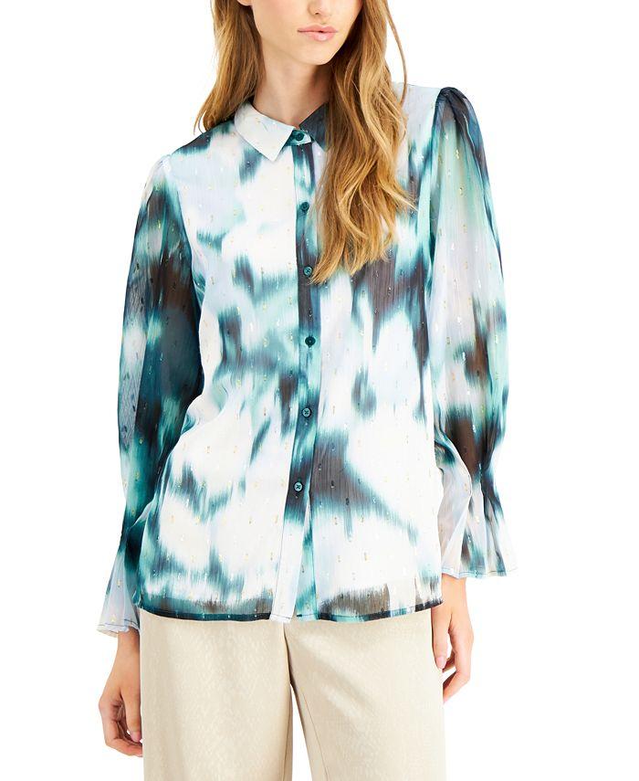 Alfani - Washed-Out Button-Down Shirt
