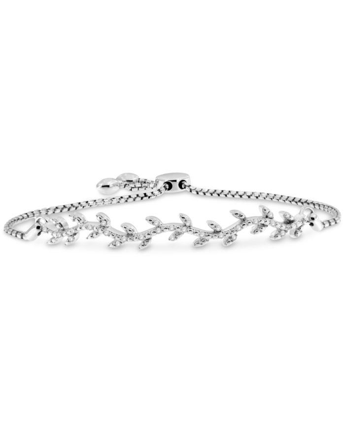 Macy's Diamond Vine Bolo Bracelet (1/6 ct. t.w.) in Sterling Silver & Reviews - Bracelets - Jewelry & Watches - Macy's