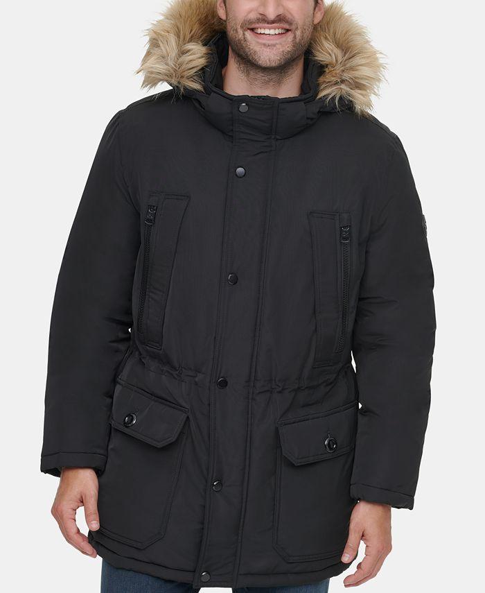 Calvin Klein - Men's Long Snorkel Coat with Faux-Fur Trimmed Hood