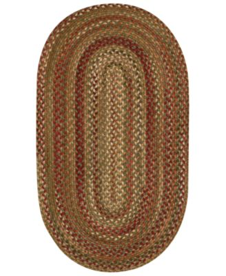 Capel Area Rug, Homecoming Oval Braid 0048-200 Evergreen 3' x 5'