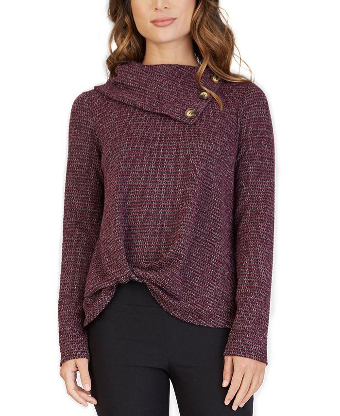 BCX - Juniors' Fuzzy Tweed Twist Front Sweater