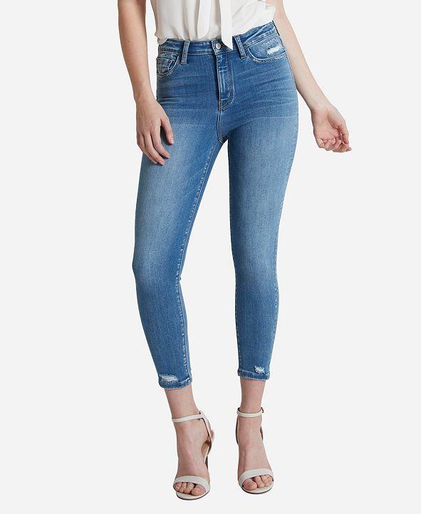 FLYING MONKEY Women's Super High Rise Skinny Crop Jeans