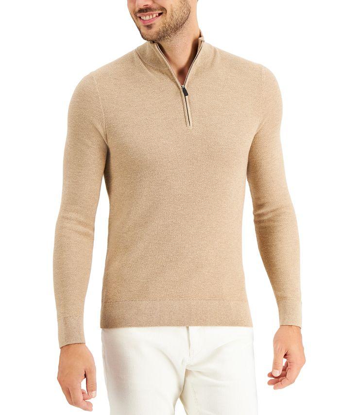 Michael Kors - Men's Regular-Fit Textured Stitch 1/4-Zip Sweater