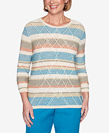 Alfred Dunner Women's Plus Size Colorado Springs Textured Biadere Sweater
