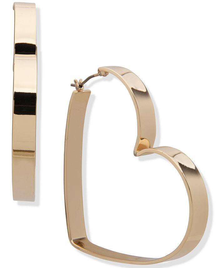 "DKNY - Gold-Tone Large Heart Hoop Earrings, 2.1"""