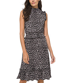 Michael Michael Kors Animal-Print Smocked Ruffled-Hem Dress