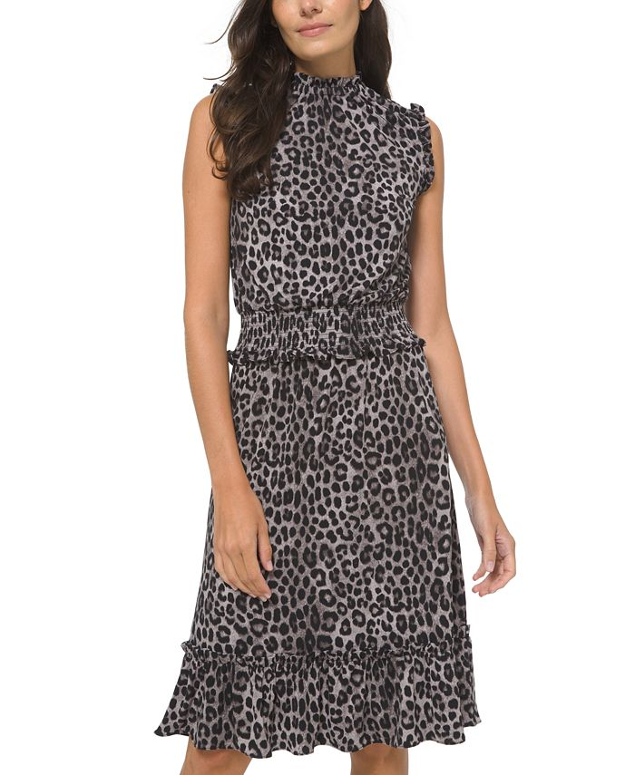 Michael Kors - Animal-Print Smocked Ruffled-Hem Dress