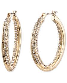 """Lauren Ralph Lauren Gold-Tone Medium Pavé Twist Hoop Earrings, 1.4"""""""