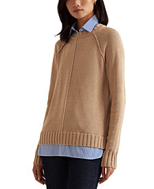 Lauren Ralph Lauren Layered Cotton Sweater, Regular & Petite Sizes