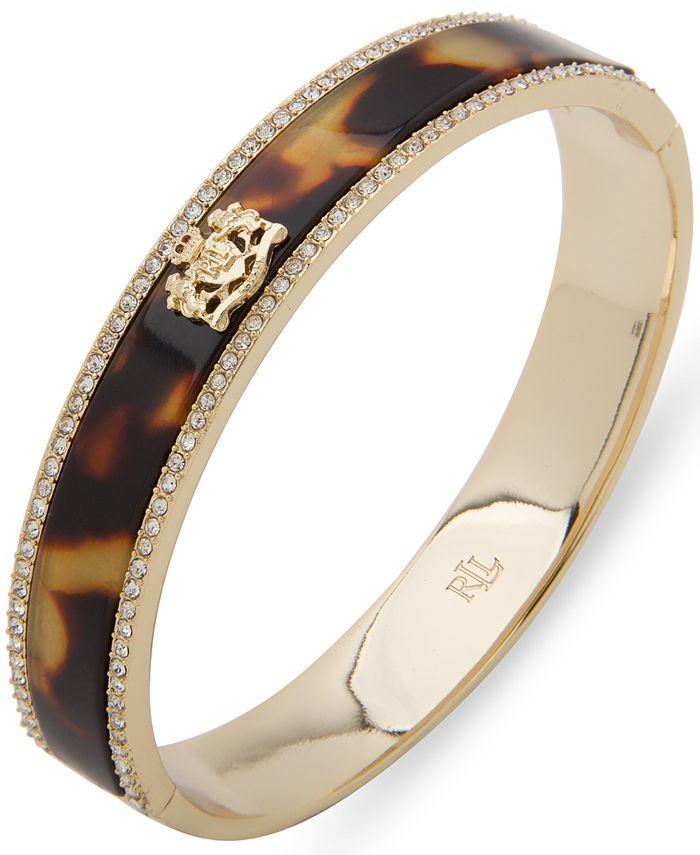 Lauren Ralph Lauren - Gold-Tone Pavé & Crest Tortoise-Look Bangle Bracelet