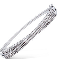 Wrapped in Love™ Diamond Multi-Row Crossover Bangle Bracelet (1 ct. t.w.) in Sterling Silver, Created for Macy's