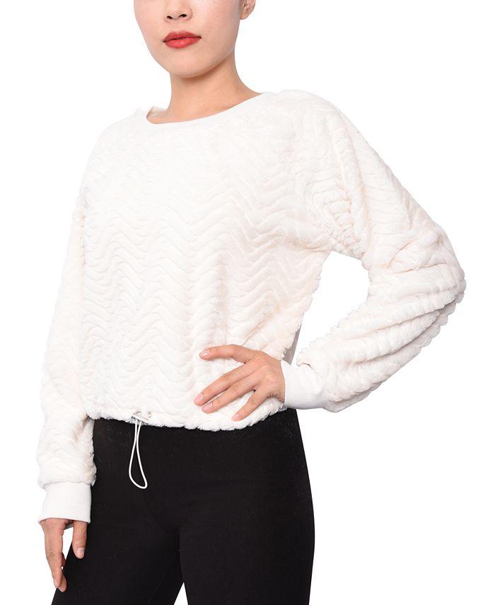 Planet Gold - Juniors' Faux-Fur Chevron Sweater