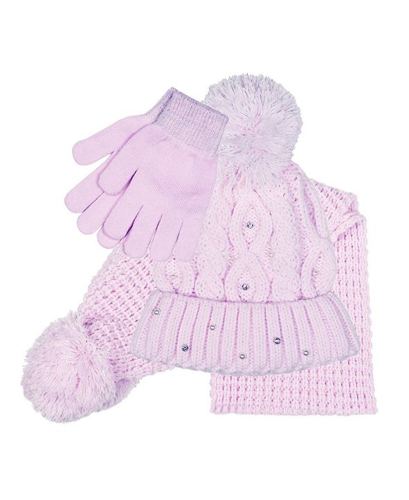 Love 2 Design Big Girls Hat, Scarf and Gloves Set, 3 Piece Set