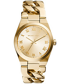 Michael Kors Women's Channing Gold-Tone Stainless Steel Bracelet Watch 38mm