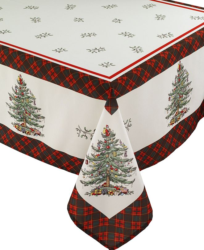 Spode Christams Tree Tartan Multicolored 60x144 Tablecloth