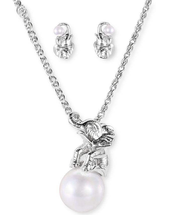 Charter Club - Silver-Tone Pavé & Imitation Pearl Elephant Pendant Necklace & Stud Earrings Set