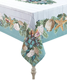 """Laural Home Christmas By The Sea Tablecloth - 70"""" x 144"""""""
