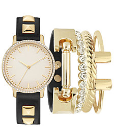 Jessica Carlyle Women's Black Studded Strap Watch 34mm Gift Set