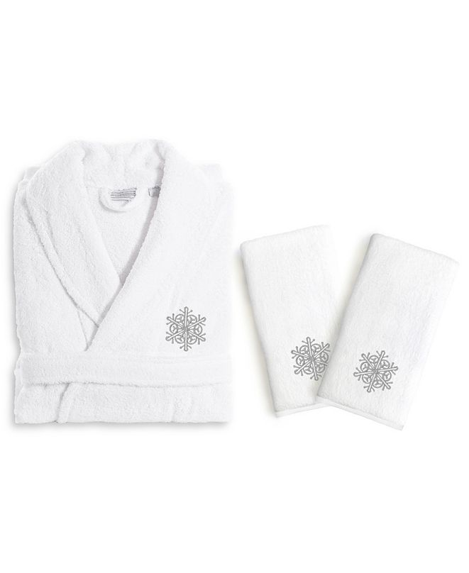 Linum Home Textiles Embroidered Luxury Hand Towels and Terry Bathrobe Set - Snow Flake