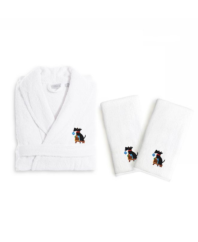 Linum Home Textiles Embroidered Luxury Hand Towels and Terry Bathrobe Set - Christmas Dog