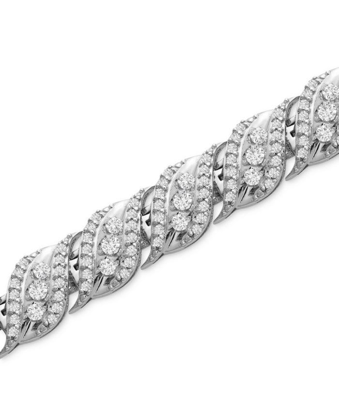 Macy's Diamond Wave Link Bracelet (2 ct. t.w.) in 14k White Gold & Reviews - Bracelets - Jewelry & Watches - Macy's