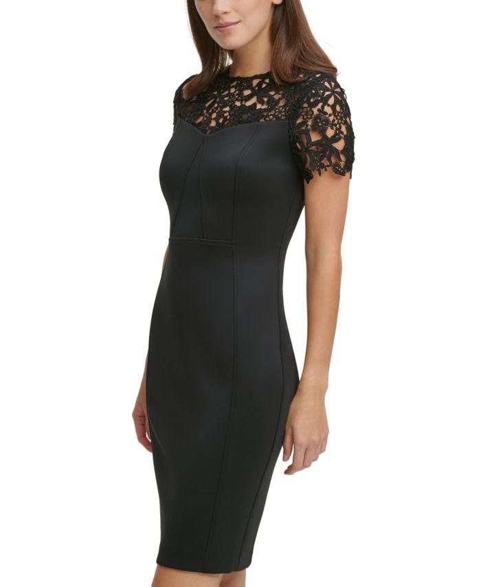 Calvin Klein Lace-Top Scuba Sheath Dress & Reviews - Dresses - Women - Macy's
