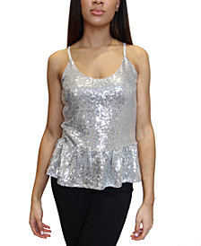 Crave Fame Junior's Sequined Peplum Tank Top