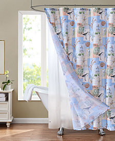 """Sunset Park Sandpiper 70"""" x 72"""" Shower Curtain and Liner Set, 14 Piece"""
